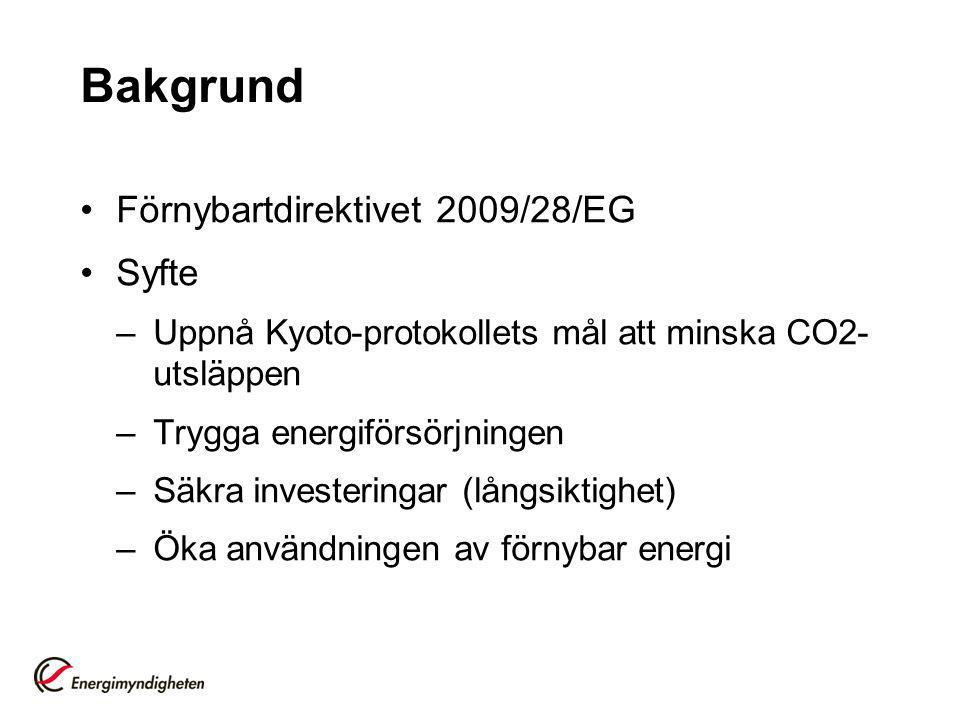 Bakgrund Förnybartdirektivet 2009/28/EG Syfte –Uppnå Kyoto-protokollets mål att minska CO2- utsläppen –Trygga energiförsörjningen –Säkra investeringar (långsiktighet) –Öka användningen av förnybar energi