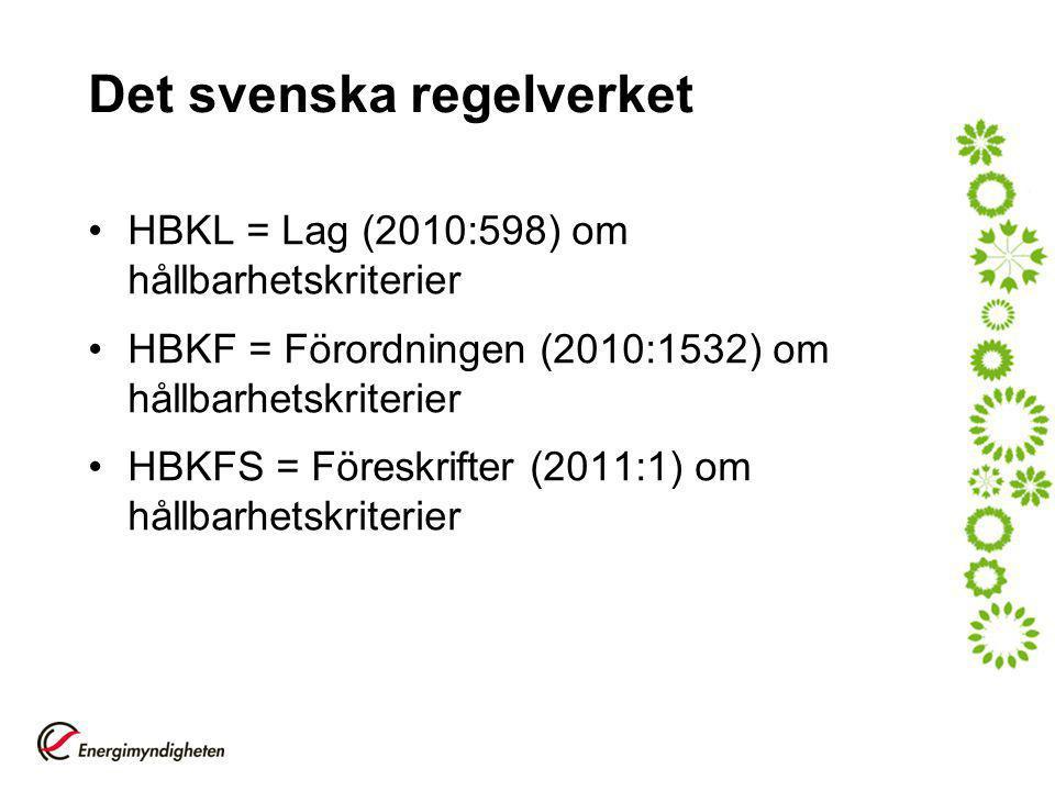 Det svenska regelverket HBKL = Lag (2010:598) om hållbarhetskriterier HBKF = Förordningen (2010:1532) om hållbarhetskriterier HBKFS = Föreskrifter (2011:1) om hållbarhetskriterier