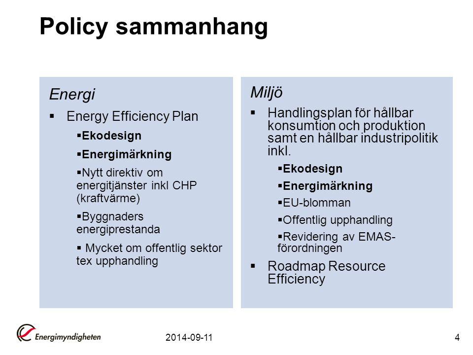 4 Policy sammanhang Energi  Energy Efficiency Plan  Ekodesign  Energimärkning  Nytt direktiv om energitjänster inkl CHP (kraftvärme)  Byggnaders energiprestanda  Mycket om offentlig sektor tex upphandling Miljö  Handlingsplan för hållbar konsumtion och produktion samt en hållbar industripolitik inkl.