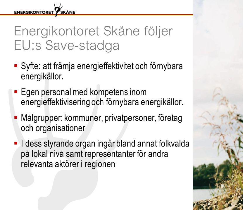 Energikontoret Skåne följer EU:s Save-stadga  Syfte: att främja energieffektivitet och förnybara energikällor.  Egen personal med kompetens inom ene