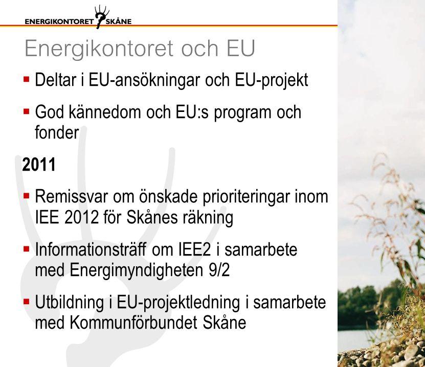 Energikontoret och EU  Deltar i EU-ansökningar och EU-projekt  God kännedom och EU:s program och fonder 2011  Remissvar om önskade prioriteringar inom IEE 2012 för Skånes räkning  Informationsträff om IEE2 i samarbete med Energimyndigheten 9/2  Utbildning i EU-projektledning i samarbete med Kommunförbundet Skåne