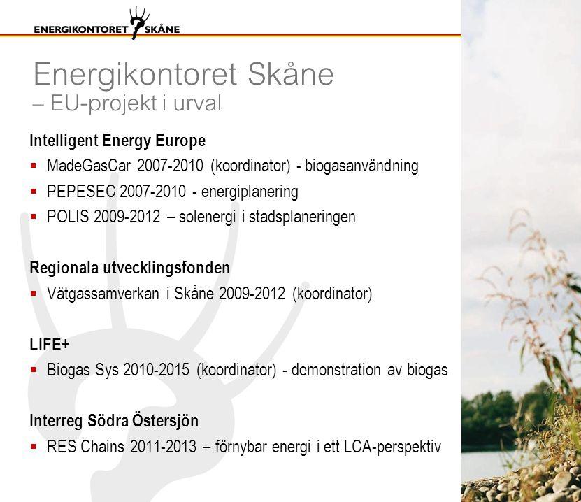 Energikontoret Skåne – EU-projekt i urval Intelligent Energy Europe  MadeGasCar 2007-2010 (koordinator) - biogasanvändning  PEPESEC 2007-2010 - energiplanering  POLIS 2009-2012 – solenergi i stadsplaneringen Regionala utvecklingsfonden  Vätgassamverkan i Skåne 2009-2012 (koordinator) LIFE+  Biogas Sys 2010-2015 (koordinator) - demonstration av biogas Interreg Södra Östersjön  RES Chains 2011-2013 – förnybar energi i ett LCA-perspektiv