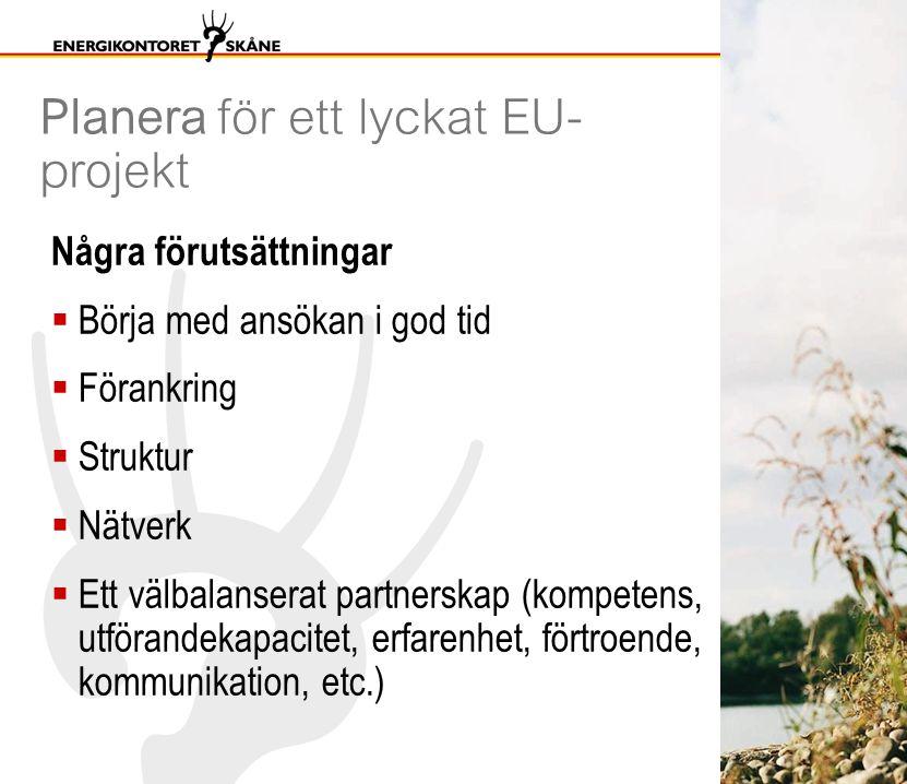 Planera för ett lyckat EU- projekt Några förutsättningar  Börja med ansökan i god tid  Förankring  Struktur  Nätverk  Ett välbalanserat partnerskap (kompetens, utförandekapacitet, erfarenhet, förtroende, kommunikation, etc.)