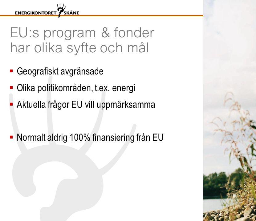 EU:s program & fonder har olika syfte och mål  Geografiskt avgränsade  Olika politikområden, t.ex. energi  Aktuella frågor EU vill uppmärksamma  N