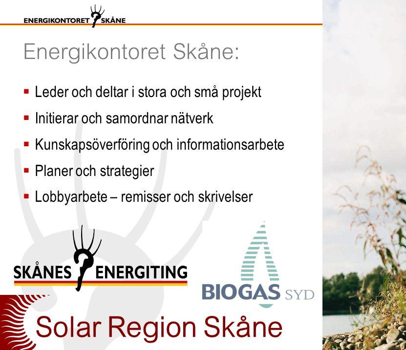 Energikontoret Skåne:  Leder och deltar i stora och små projekt  Initierar och samordnar nätverk  Kunskapsöverföring och informationsarbete  Planer och strategier  Lobbyarbete – remisser och skrivelser Solar Region Skåne