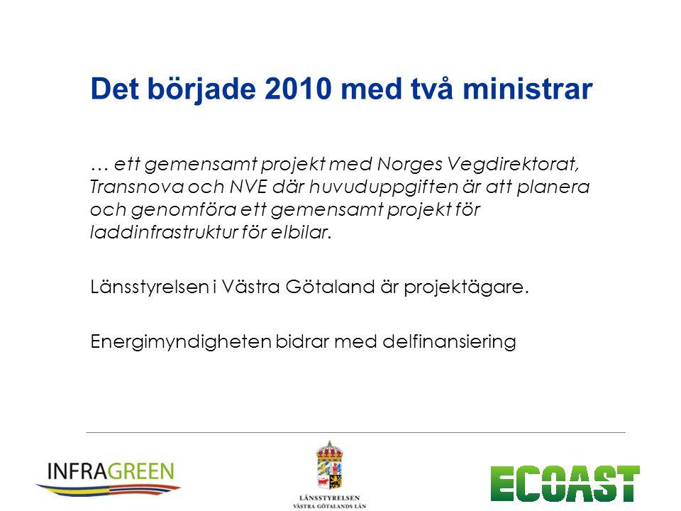 Det började 2010 med två ministrar … ett gemensamt projekt med Norges Vegdirektorat, Transnova och NVE där huvuduppgiften är att planera och genomföra ett gemensamt projekt för laddinfrastruktur för elbilar.