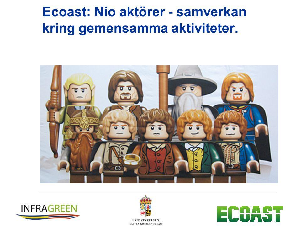 Ecoast: Nio aktörer - samverkan kring gemensamma aktiviteter.