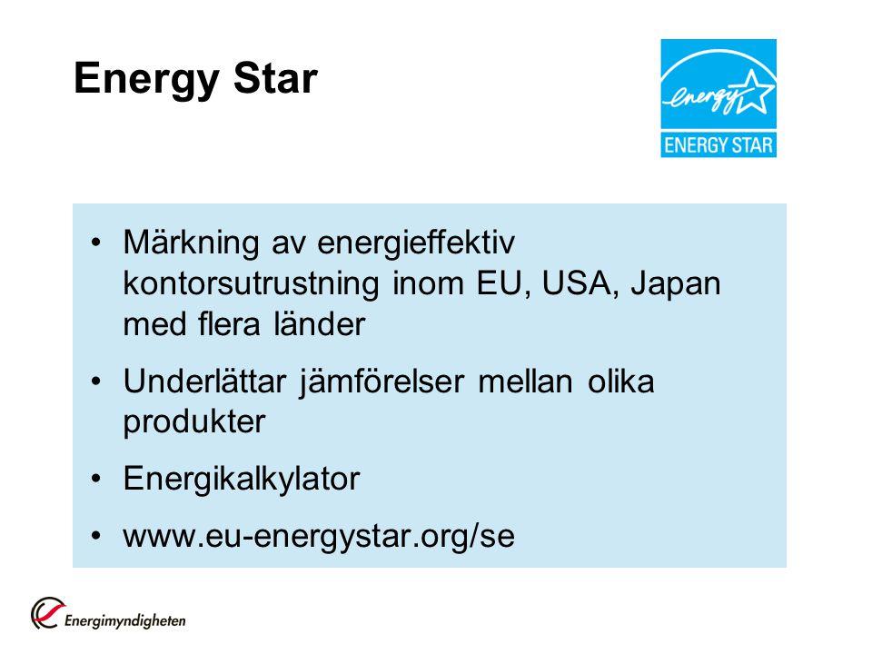 Energy Star Märkning av energieffektiv kontorsutrustning inom EU, USA, Japan med flera länder Underlättar jämförelser mellan olika produkter Energikal