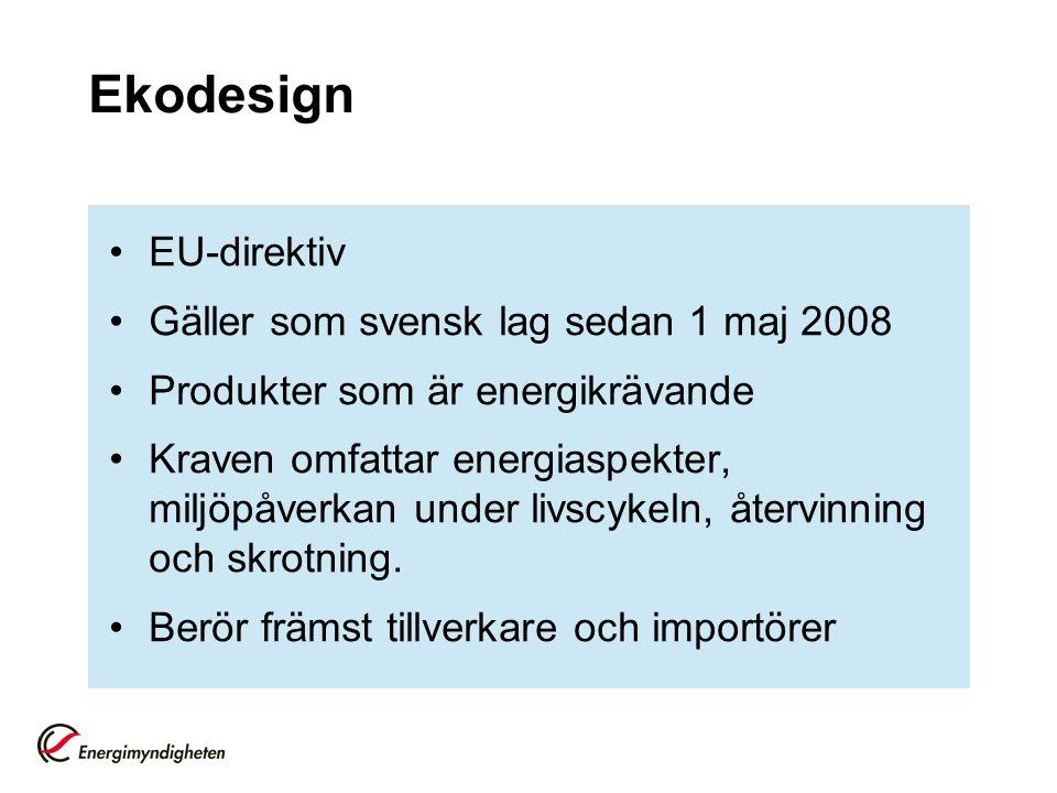 Ekodesign EU-direktiv Gäller som svensk lag sedan 1 maj 2008 Produkter som är energikrävande Kraven omfattar energiaspekter, miljöpåverkan under livsc