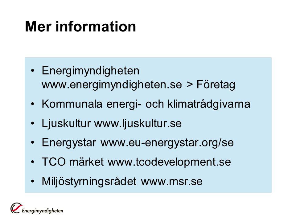 Mer information Energimyndigheten www.energimyndigheten.se > Företag Kommunala energi- och klimatrådgivarna Ljuskultur www.ljuskultur.se Energystar ww