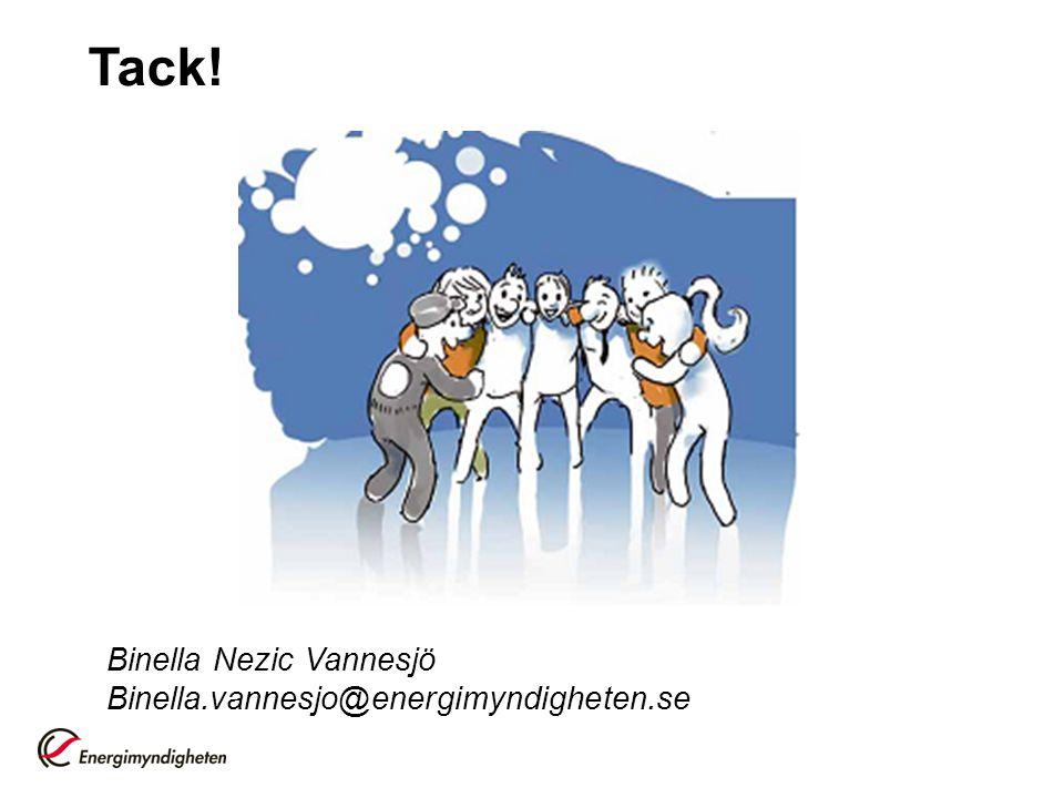 Tack! Binella Nezic Vannesjö Binella.vannesjo@energimyndigheten.se