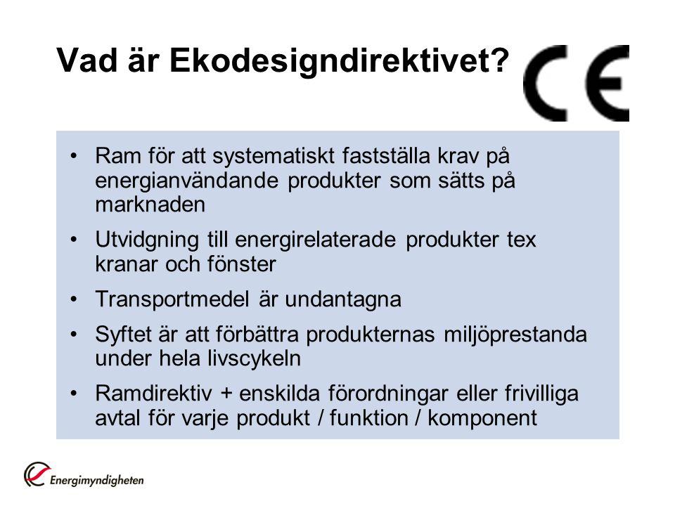 Energimärkningsdirektivet Ramdirektiv + enskilda direktiv för varje produkt Ca 10 produkter (kylar, frysar etc) Allt fler produkter på gång, synkade med ekodesign Förslag: Utvidga till energirelaterade produkter