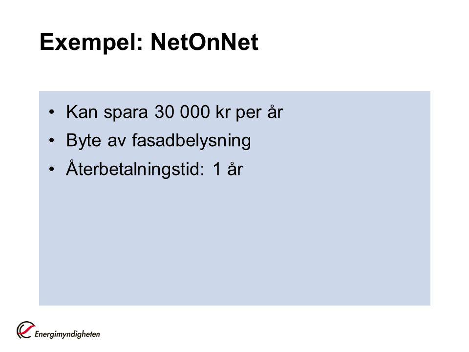Exempel: NetOnNet Kan spara 30 000 kr per år Byte av fasadbelysning Återbetalningstid: 1 år