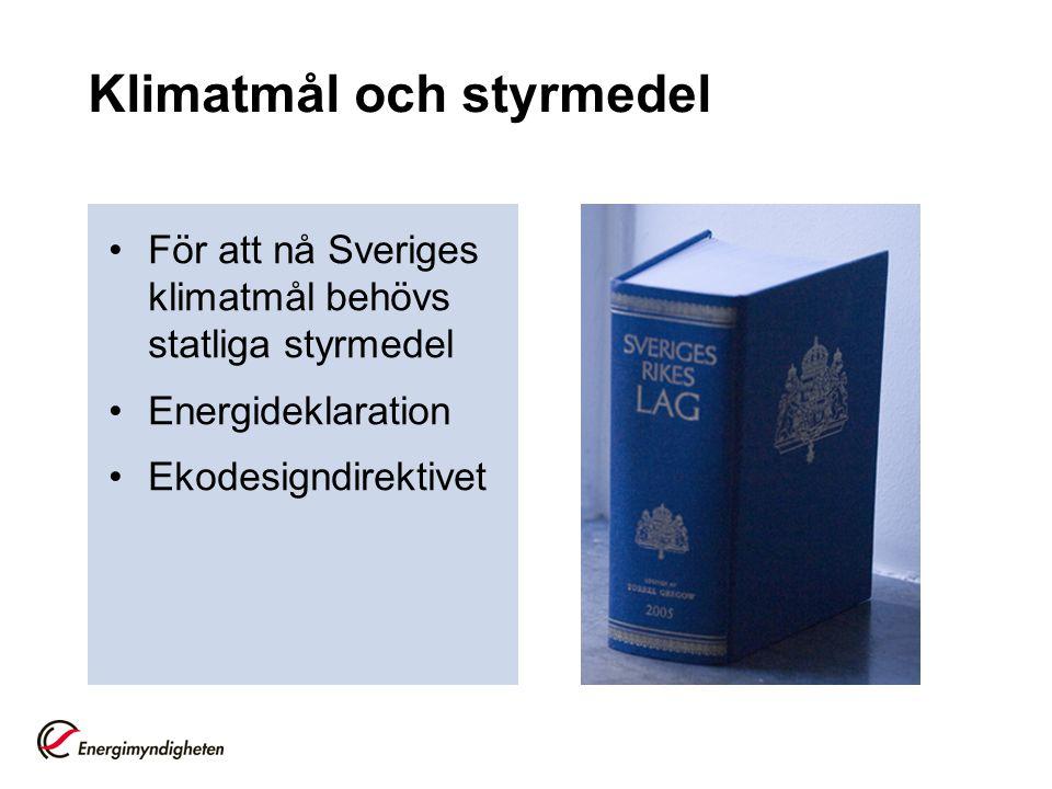 Klimatmål och styrmedel För att nå Sveriges klimatmål behövs statliga styrmedel Energideklaration Ekodesigndirektivet