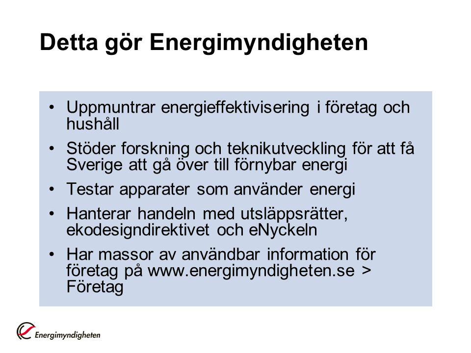Detta gör Energimyndigheten Uppmuntrar energieffektivisering i företag och hushåll Stöder forskning och teknikutveckling för att få Sverige att gå öve