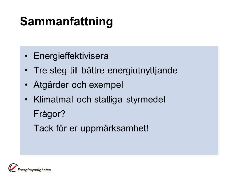 Sammanfattning Energieffektivisera Tre steg till bättre energiutnyttjande Åtgärder och exempel Klimatmål och statliga styrmedel Frågor? Tack för er up