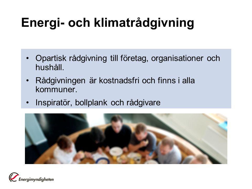 Energi- och klimatrådgivning Opartisk rådgivning till företag, organisationer och hushåll. Rådgivningen är kostnadsfri och finns i alla kommuner. Insp