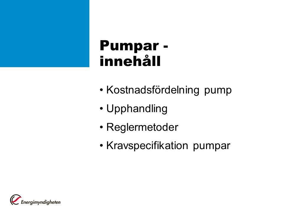 Pumpar - innehåll Kostnadsfördelning pump Upphandling Reglermetoder Kravspecifikation pumpar