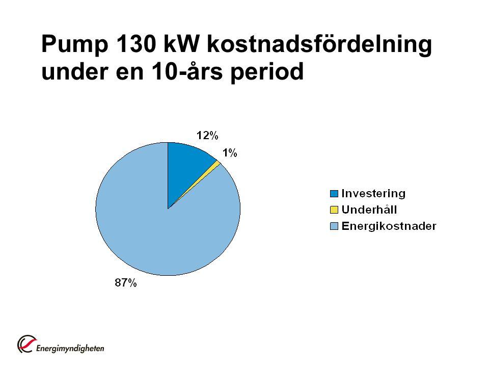 Pump 130 kW kostnadsfördelning under en 10-års period
