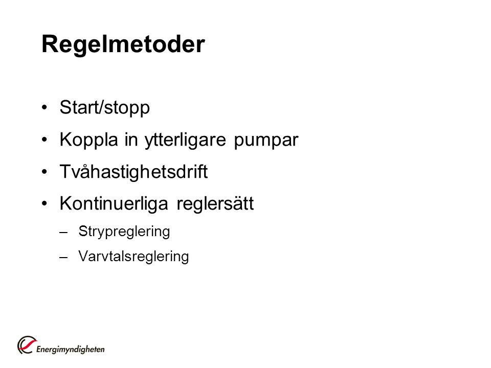 Regelmetoder Start/stopp Koppla in ytterligare pumpar Tvåhastighetsdrift Kontinuerliga reglersätt –Strypreglering –Varvtalsreglering