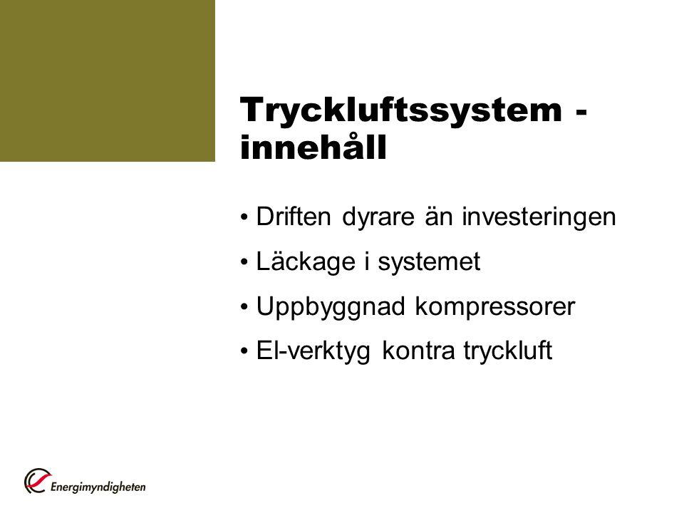 Tryckluftssystem - innehåll Driften dyrare än investeringen Läckage i systemet Uppbyggnad kompressorer El-verktyg kontra tryckluft