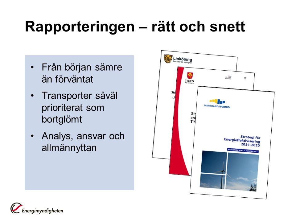 Rapporteringen – rätt och snett Från början sämre än förväntat Transporter såväl prioriterat som bortglömt Analys, ansvar och allmännyttan
