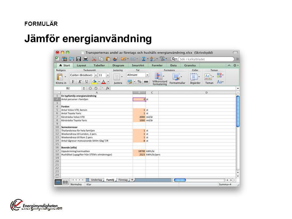 FORMULÄR Jämför energianvändning