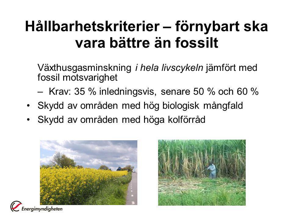 Hållbarhetskriterier – förnybart ska vara bättre än fossilt Växthusgasminskning i hela livscykeln jämfört med fossil motsvarighet –Krav: 35 % inlednin