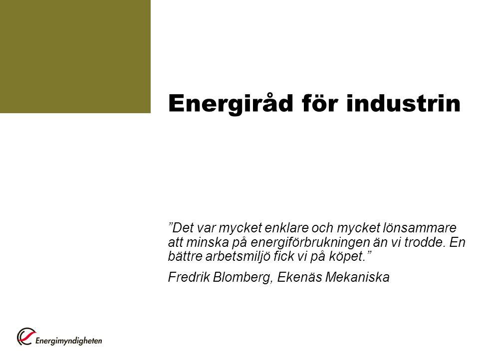 Mer information Energimyndigheten www.energimyndigheten.se > Företag www.energimyndigheten.se Kommunala energi- och klimatrådgivarna Branschföreningar Energikonsulter Miljöstyrningsrådet www.msr.sewww.msr.se