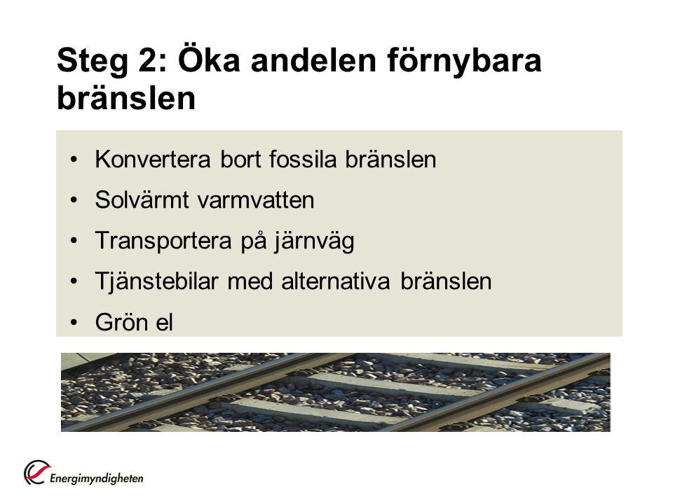 Steg 2: Öka andelen förnybara bränslen Konvertera bort fossila bränslen Solvärmt varmvatten Transportera på järnväg Tjänstebilar med alternativa bräns