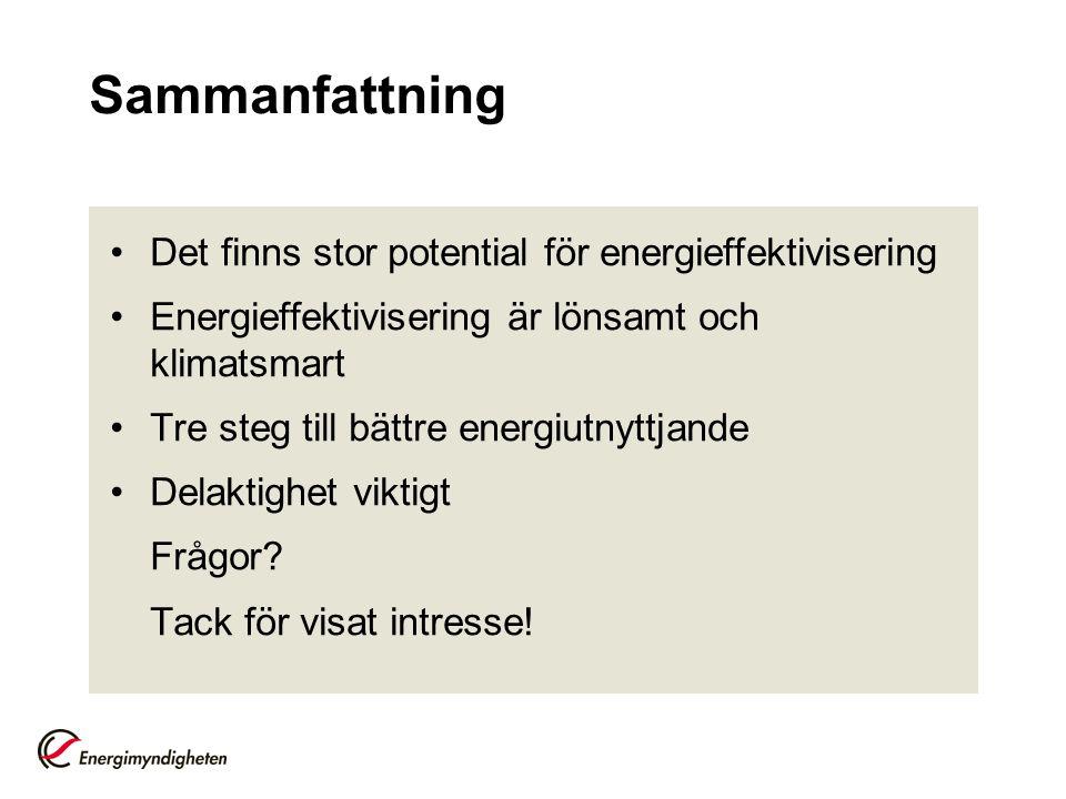 Sammanfattning Det finns stor potential för energieffektivisering Energieffektivisering är lönsamt och klimatsmart Tre steg till bättre energiutnyttja