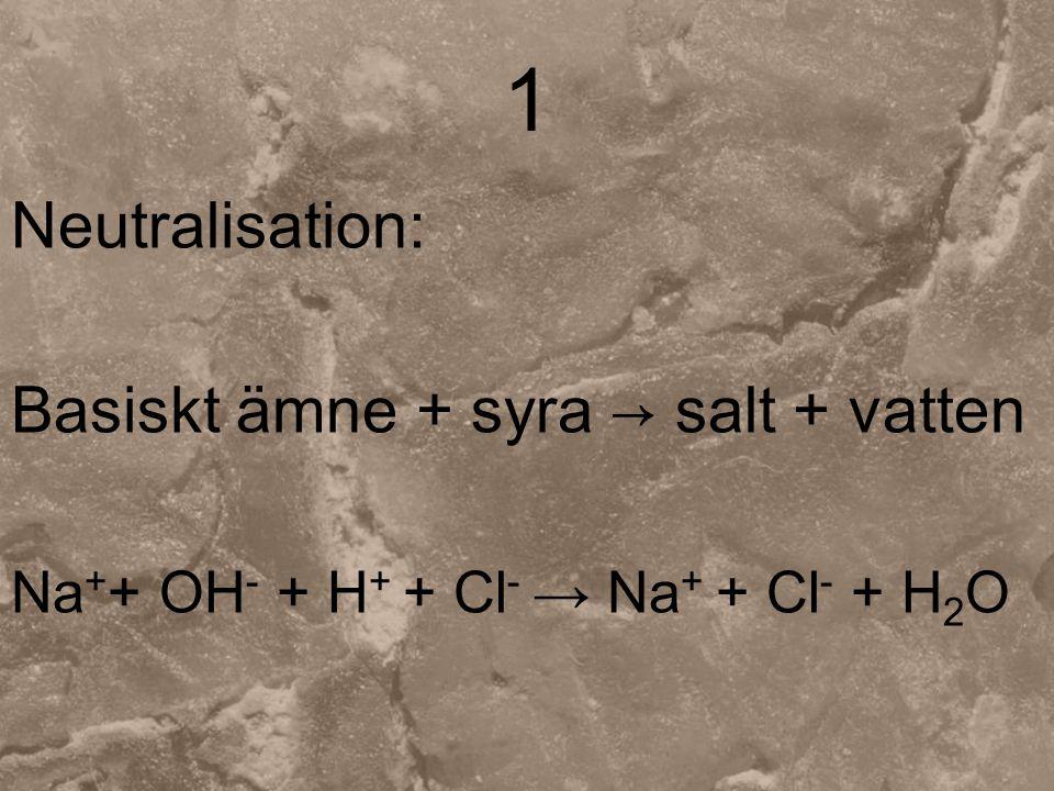 2 Metall + syra → salt + vätgas Zn + 2H + + 2Cl - → Zn 2+ + 2Cl - + H 2