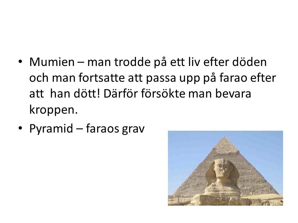 Mumien – man trodde på ett liv efter döden och man fortsatte att passa upp på farao efter att han dött.