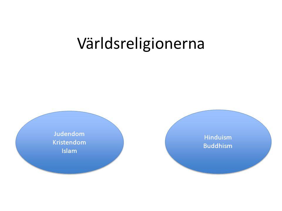 Världsreligionerna Judendom Kristendom Islam Judendom Kristendom Islam Hinduism Buddhism Hinduism Buddhism