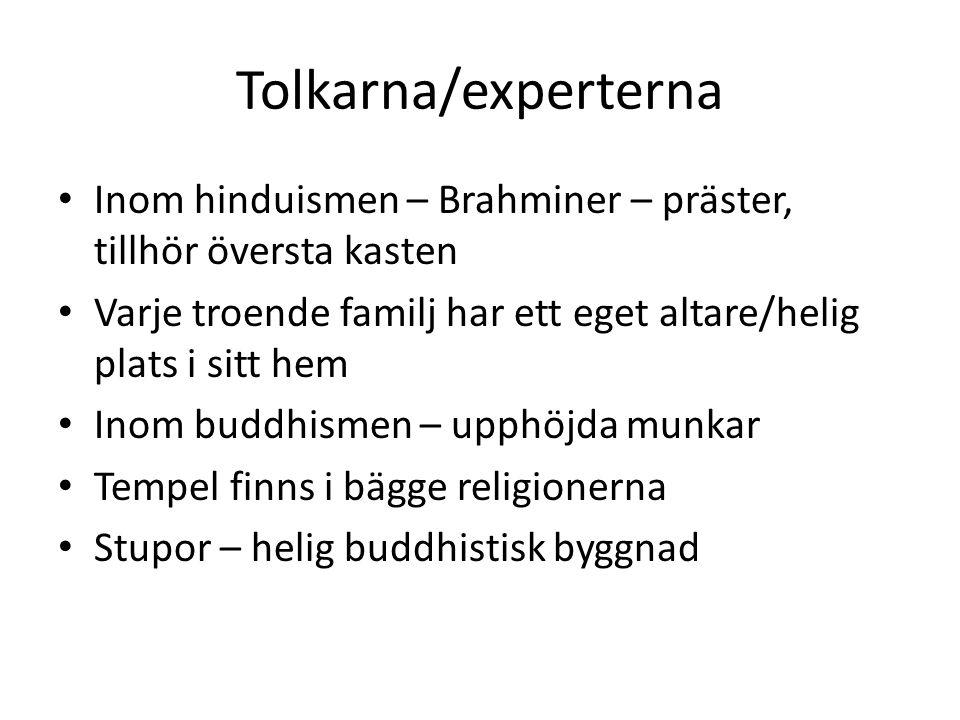 Tolkarna/experterna Inom hinduismen – Brahminer – präster, tillhör översta kasten Varje troende familj har ett eget altare/helig plats i sitt hem Inom