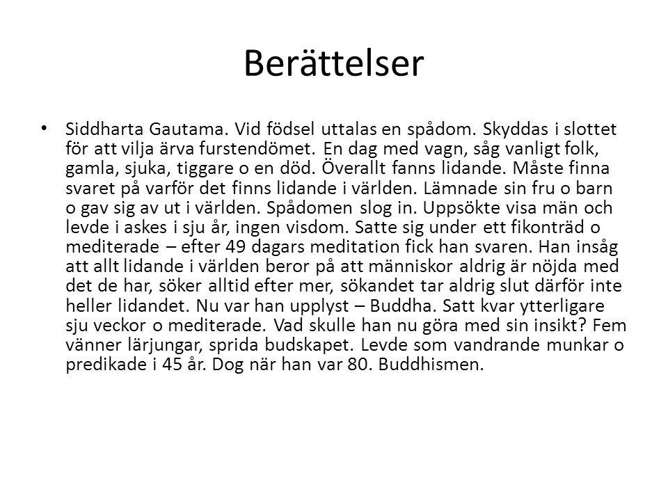 Berättelser Siddharta Gautama. Vid födsel uttalas en spådom. Skyddas i slottet för att vilja ärva furstendömet. En dag med vagn, såg vanligt folk, gam