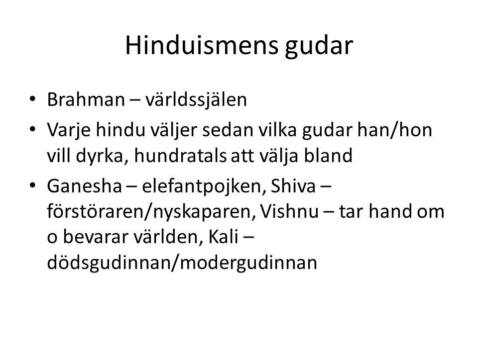 Hinduismens gudar Brahman – världssjälen Varje hindu väljer sedan vilka gudar han/hon vill dyrka, hundratals att välja bland Ganesha – elefantpojken,