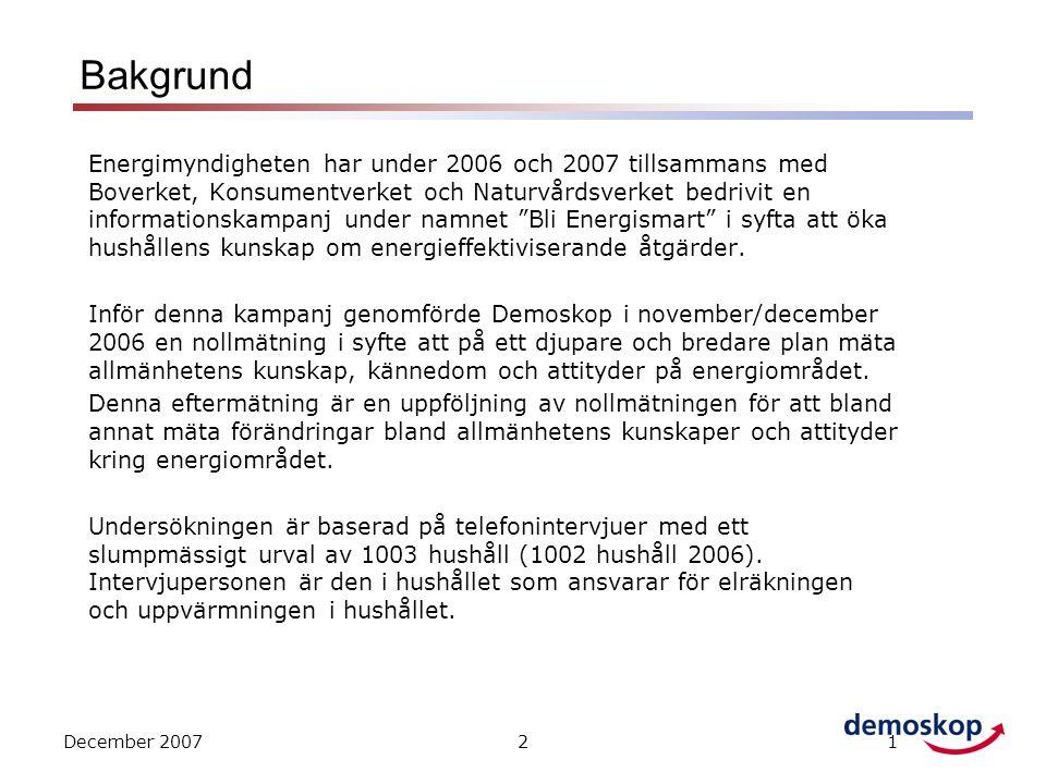 21 Bakgrund Energimyndigheten har under 2006 och 2007 tillsammans med Boverket, Konsumentverket och Naturvårdsverket bedrivit en informationskampanj under namnet Bli Energismart i syfta att öka hushållens kunskap om energieffektiviserande åtgärder.