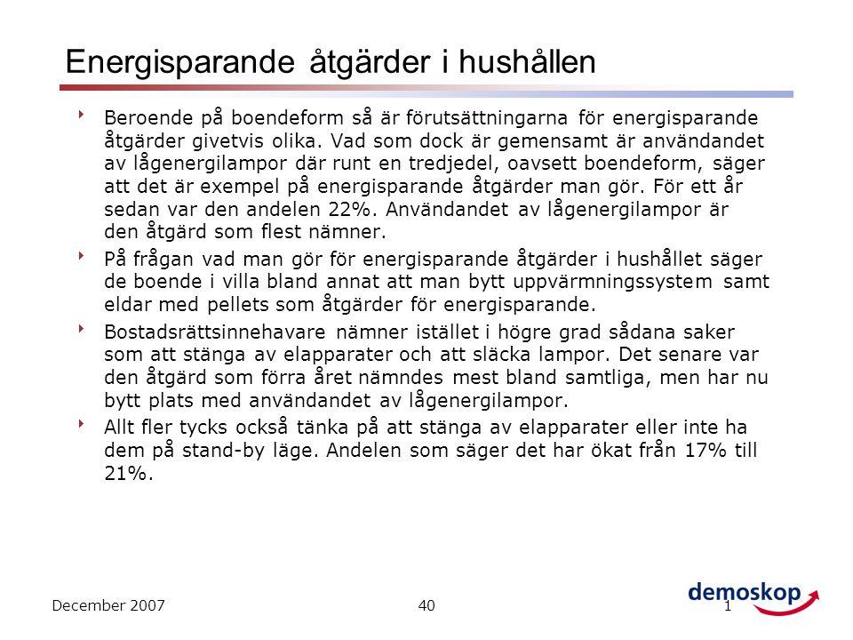 December 2007401 Energisparande åtgärder i hushållen  Beroende på boendeform så är förutsättningarna för energisparande åtgärder givetvis olika.