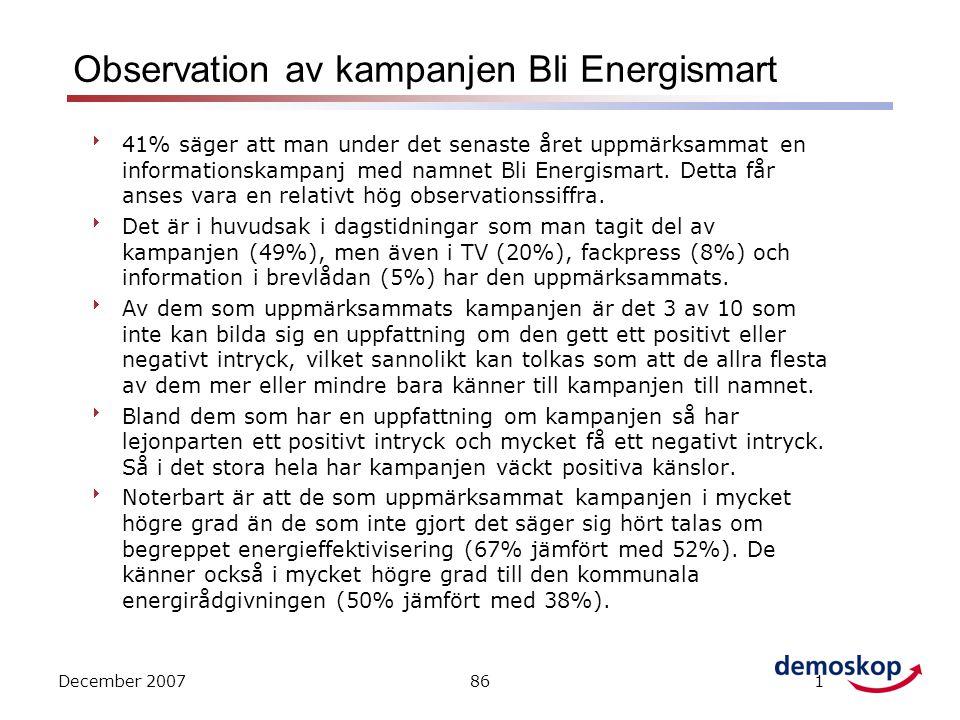 December 2007861 Observation av kampanjen Bli Energismart  41% säger att man under det senaste året uppmärksammat en informationskampanj med namnet Bli Energismart.
