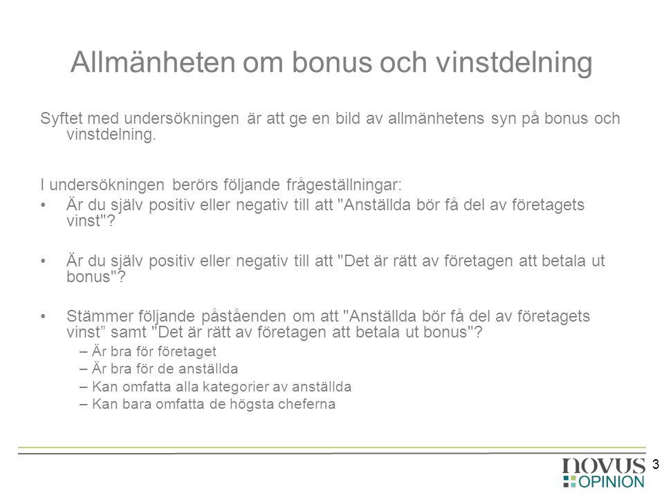 3 Allmänheten om bonus och vinstdelning Syftet med undersökningen är att ge en bild av allmänhetens syn på bonus och vinstdelning.