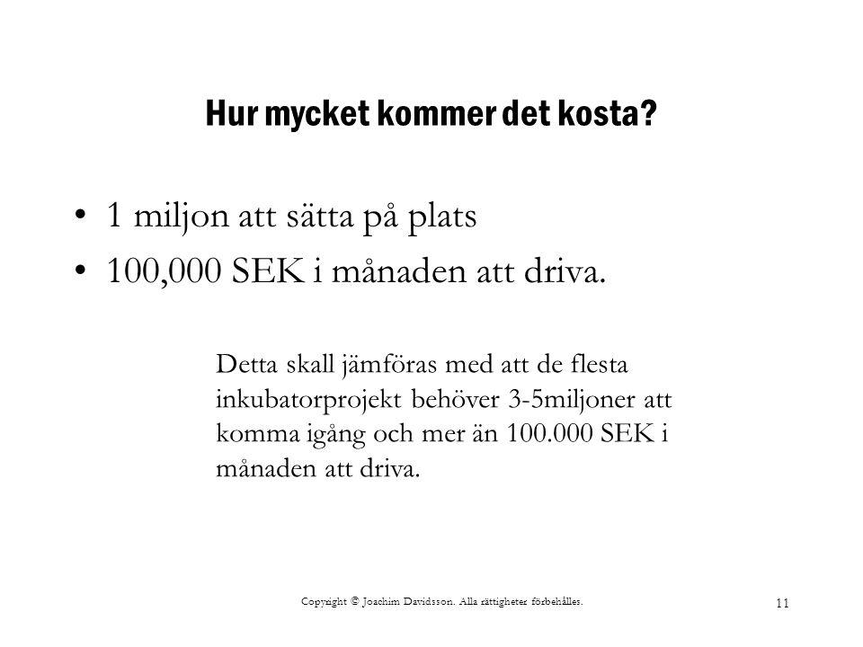 Copyright © Joachim Davidsson. Alla rättigheter förbehålles. 11 Hur mycket kommer det kosta? 1 miljon att sätta på plats 100,000 SEK i månaden att dri