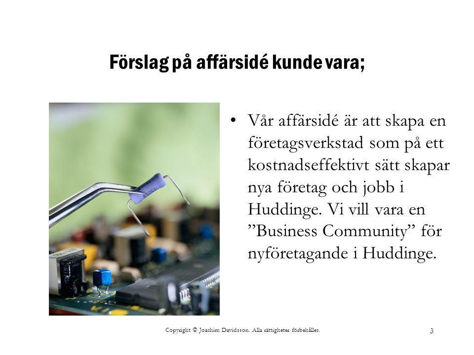 Copyright © Joachim Davidsson. Alla rättigheter förbehålles. 3 Förslag på affärsidé kunde vara; Vår affärsidé är att skapa en företagsverkstad som på