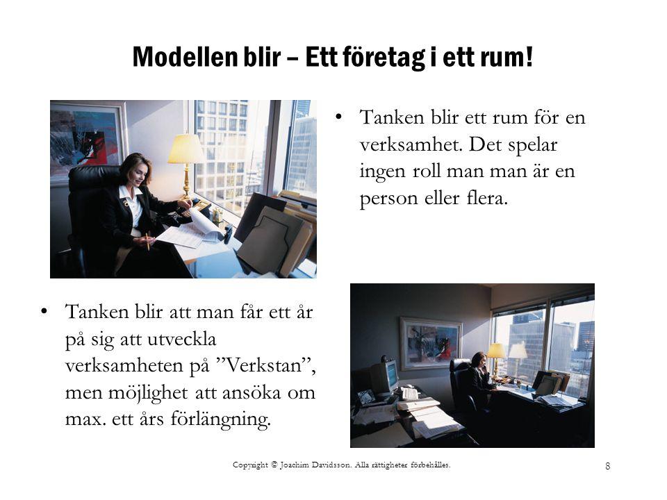 Copyright © Joachim Davidsson. Alla rättigheter förbehålles. 8 Modellen blir – Ett företag i ett rum! Tanken blir ett rum för en verksamhet. Det spela