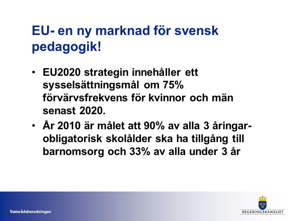 EU- en ny marknad för svensk pedagogik! EU2020 strategin innehåller ett sysselsättningsmål om 75% förvärvsfrekvens för kvinnor och män senast 2020. År
