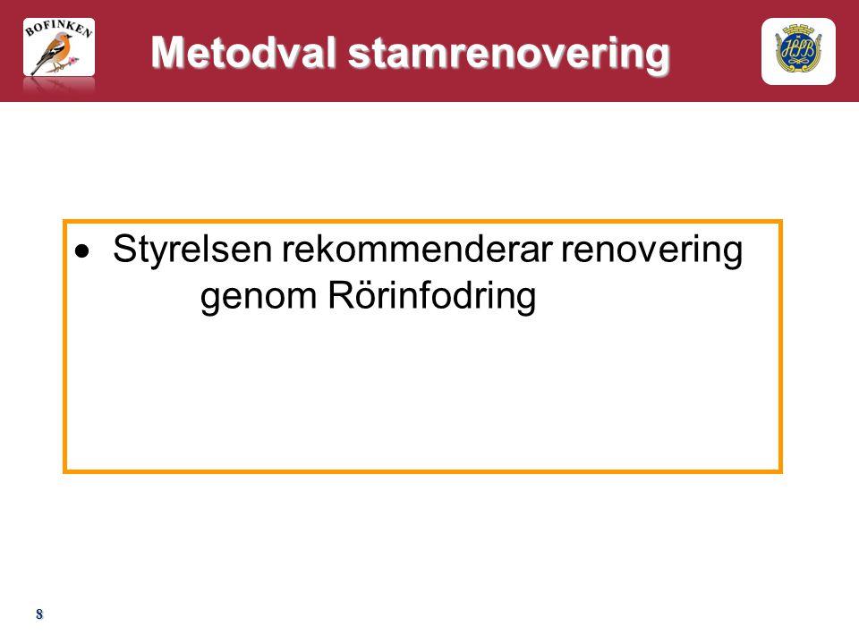 8 Metodval stamrenovering  Styrelsen rekommenderar renovering genom Rörinfodring