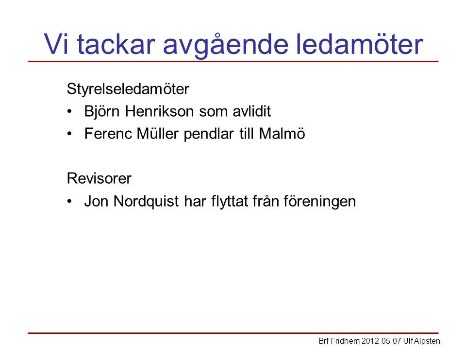 Vi tackar avgående ledamöter Styrelseledamöter Björn Henrikson som avlidit Ferenc Müller pendlar till Malmö Revisorer Jon Nordquist har flyttat från föreningen Brf Fridhem 2012-05-07 Ulf Alpsten