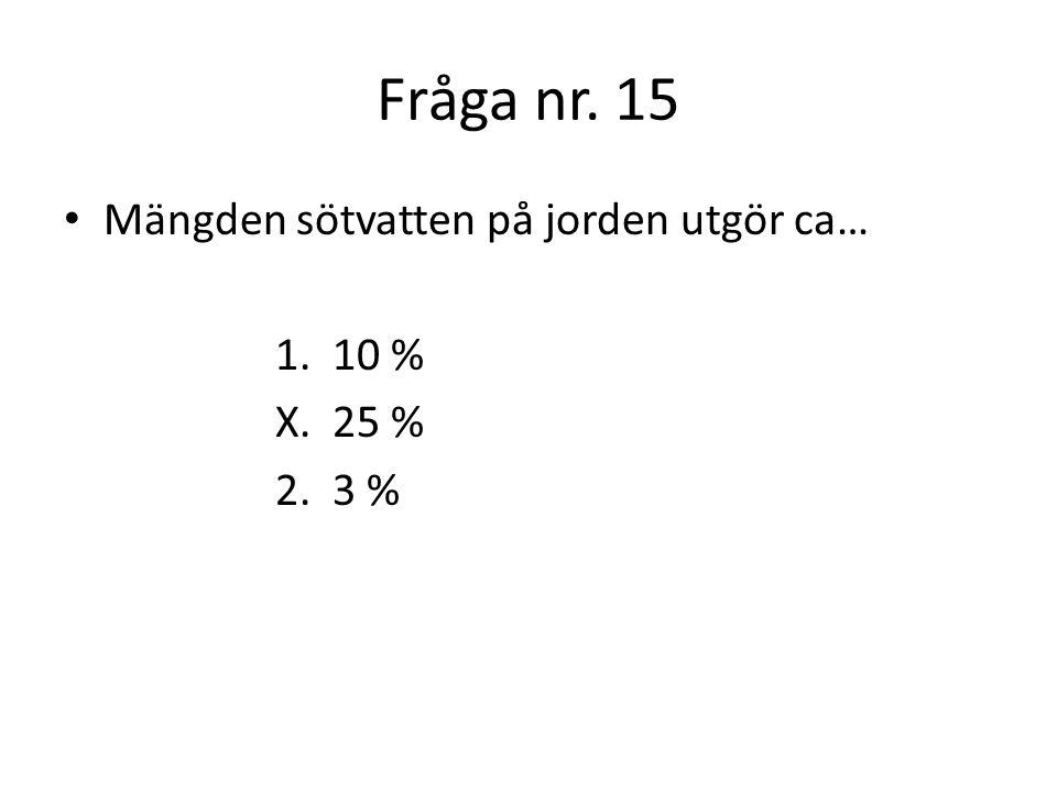 Fråga nr.16 Hur många liter vatten använder varje person i Sverige per dag.