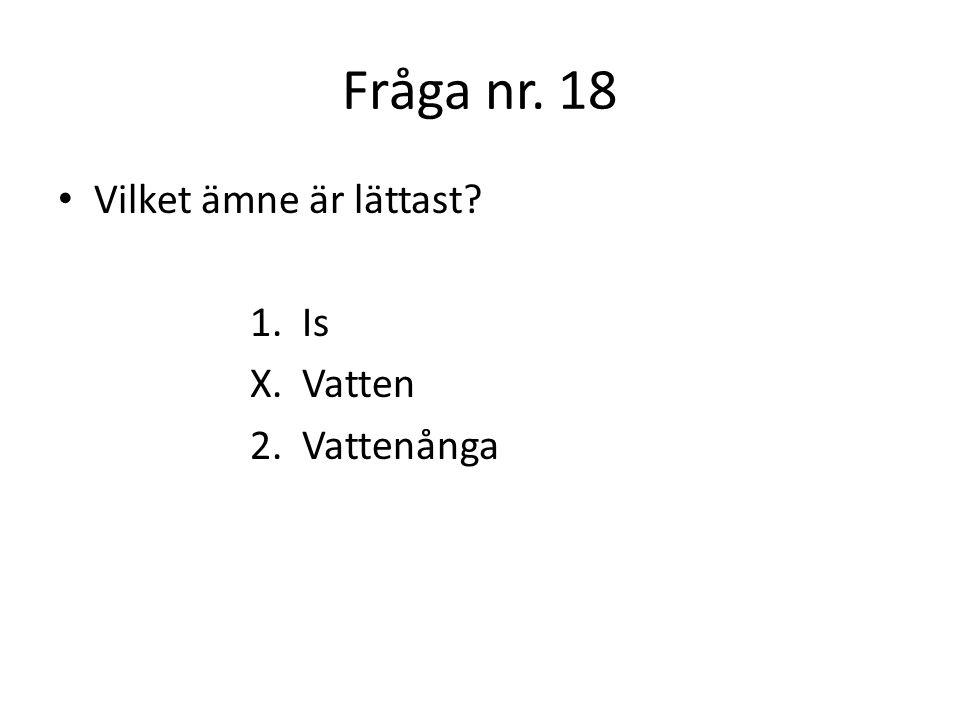 Fråga nr.19 Vilket är surast i kemisk mening… 1. En blöt strumpa X.