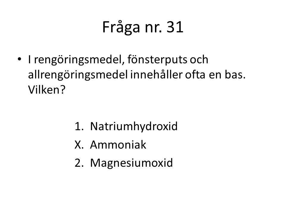 Fråga nr.32 Vilken viktig energiomvandling använder växterna för att bilda druvsocker och syre.